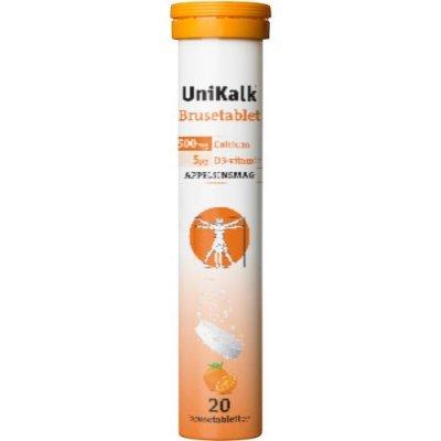 UniKalk brusetablet m. appelsinsmag 20 tabletter