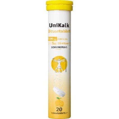 UniKalk Brusetablet m. Lemonsmag 20 tabletter