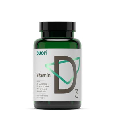 Puori Vitamin D3 62,5 mcg • 120 kaps.