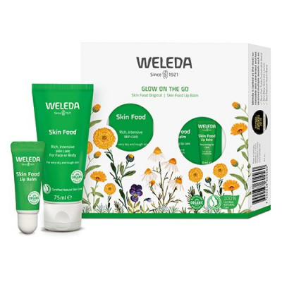 Weleda gaveæske Glow on the Go Skinfood 75 ml., Lipbalm 8 ml.