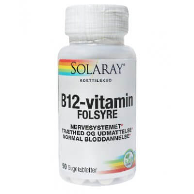 Solaray B12-vitamin m. Folsyre • 90 tab.