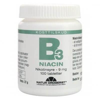 Natur-Drogeriet B3 Niacin Nikotinsyre 9 mg • 100 tab.