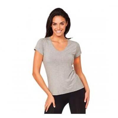Boody T-Shirt Dame V-hals lysegrå str. L • 1stk.