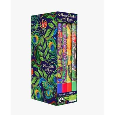 Chocolate and Love Library Box Vegan chokolade 4 var. Ø Panama,Rich Dark,Mint & Orange • 320g.